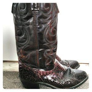 Exotic Vintage Oxblood Snakeskin Cowboy Boots 8.5